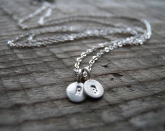 Custom Teeny Tiny Stamped Sterling Silver Charm Necklace