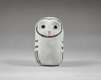 Barn Owl Pottery Bird - Miniature Ceramic Porcelain Clay Animal White Black Sculpture Decorative Home Decor Ornament - Terrarium Figurine