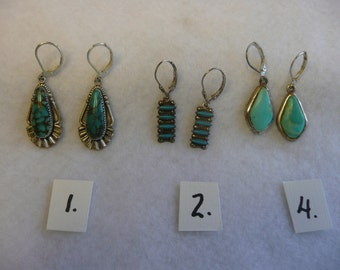 RESERVED  Native American Turquoise and Sterling Silver Earrings with Sterling Earwires