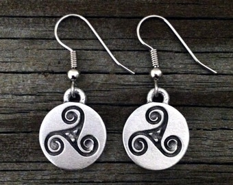Celtic Triskele Earrings | Triskelion | Triskele | Celtic Jewellery | Celtic Style | Viking Jewelry | by Treasure Cast Pewter