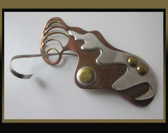 Surreal MIX-Modernist Mixed Metals Hair Clasp,Sterling/Copper and Brass with Sterling Pin,Vintage Jewelry,Women