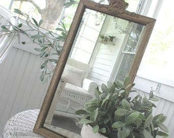 Antique Mirror *  Barbola Gesso * Vintage * Shabby Chic * French Cottage * Old Farmhouse * Jeanne d' Arc