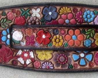 IPod Nano  Leather Watch Band or Wrist Band Cuff with Brown Border Flower Garden Design  Made in GA USA