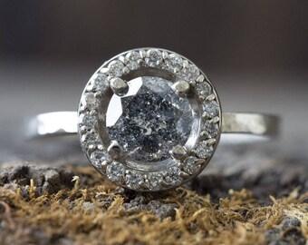 Custom Natural Round-Cut Salt + Pepper Diamond Ring