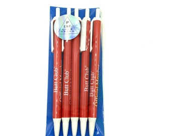 Set of 5 red Butt Club click Pens