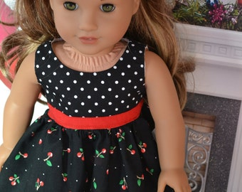 18 inch Doll Clothes - Cherry Colorblock Dress - BLACK RED GREEN - fits American Girl
