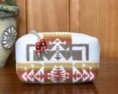 Cosmetic Bag / Makeup Bag / Zippered Pouch Small Wool Wheat Southwestern Tribal Handcrafted Using Pendleton Woolen Mills Fabric