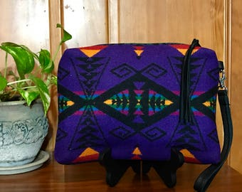 Wool Wristlet / Clutch XL Lined Southwestern Tribal Handcrafted using Pendleton Woolen Mills Fabric