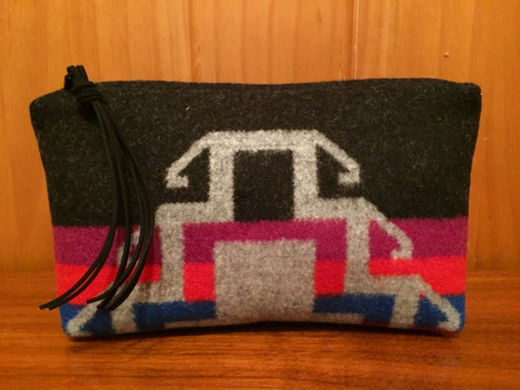Wool Clutch Unlined / Travel Bag / Cosmetic Bag Large Black & Gray