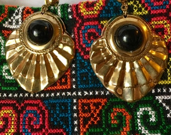 Vintage Gold Boho Pierced Earrings with Black Cabochons