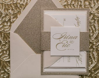 Letterpress - Fancy Beige and Gold Glitter Wedding Invitations - SAMPLE (ABIGAIL)