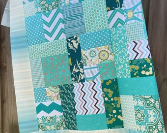 Teal shades Patchwork style Unfinished Quilt Top - You pick size - polka dot / blue / gift for her / ready to quilt / handmade / homemade