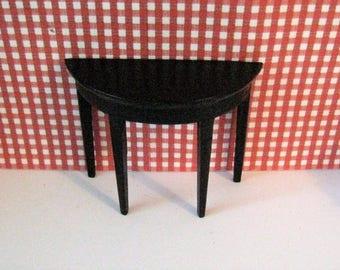 Dollhouse hall table, demi lune table,, Black mini table,  table, elegant black coffee table, black table, ,  twelfth scale miniature