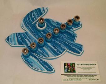 Turtle Silhouette Menorah -  Turquoise