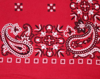 Vintage Red Bandana, Made in USA, All Cotton