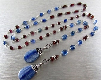 25OFF Kyanite And Garnet With Sterling Silver Lariat Necklace