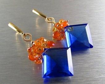 25% Off Mandarin Garnet With Cobalt Blue Quartz Gold Filled Cluster Earrings