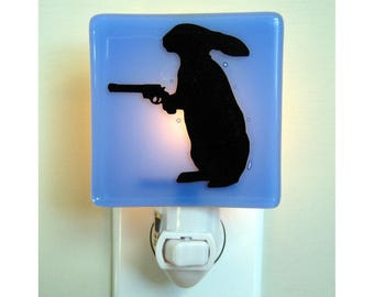 Rabbit Night Light - Funny Gift - Hand Painted Fused Glass