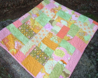 Pink Yellow and Green Floral Lap Quilt Baby Quilt