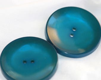 VINTAGE Pair of Lg Luminous Copenhagen Blue Celluloid Coat Buttons (2) Antique