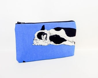Bulldog Pouch, Dog Zipper Pouch, Fabric Pouch, Pencil Pouch, Cosmetic Pouch, Coin Purse, Change Pouch, Zipper Case, Dog Pouch, Dog Pouch
