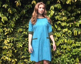 Ingrid tie-back dress- turquoise - Medium