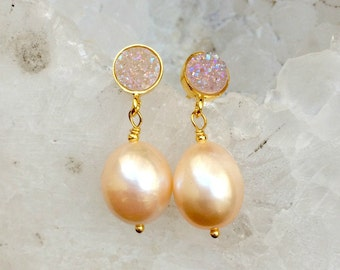 Blush Pearl Earrings Titanium Post Gold Earrings Bridal Earring Petite Pearl Earrings Wedding Jewelry Sparkly Titanium Post DoolittleJewelry