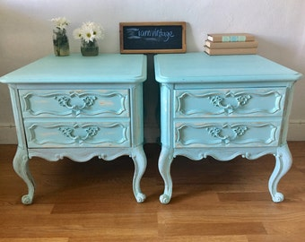 Vintage french provincial distressed and painted  night stand wood pair of 2