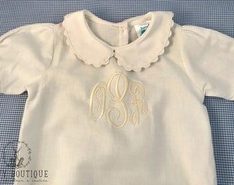 Linen Monogrammed Infant Gown