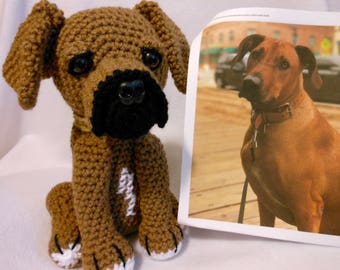 Crochet Rhodesian Ridgeback Dog, Custom Made to Look Like Owner's Dog, Look Alike, Canine, Stuffed Dog, Custom Crochet Dog, Pet Memorial