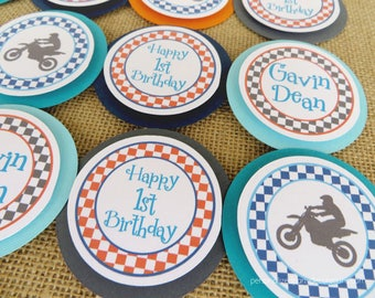 Dirt Bike Birthday Cupcake Toppers, Dirt Bike Party, Motocross Party, Boy Birthday, Choose Colors & Sayings