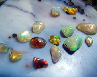 Ethiopian Opal - Fire genuine natural Polished tumbled  - yellow white green blue red welo - wire wrap crystal stone free form cabochon cab