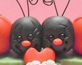 Valentine ladybugs polymer clay figurines
