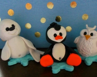 Trio of polymer clay winter figurines