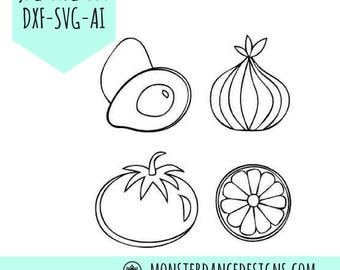 Salsa Ingredients - Avocado, Tomato, Onion, Lime Digital Pattern Stencil for Silhouette - Etching- Stamping - Embroidery