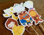 Belle & Friends Party - Set of 12 Double Sided Beauty and Beast Friends Assorted Cupcake Toppers by The Birthday House