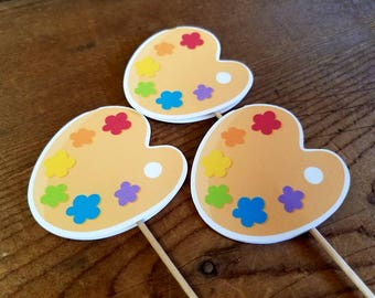 Little Artist Party - Set of 12 Paint Palette Double Sided Cupcake Toppers by The Birthday House