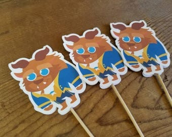 Belle & Friends Party - Set of 12 Beast Cupcake Toppers by The Birthday House