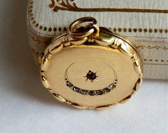 Antique Crescent Moon & Star Locket 9 Carat Gold Silver Paste Stones Ruby Red Star Edwardian Locket