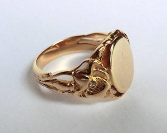 Vintage 14K Gold Blank Signet Ring Oval Front Nouveau Design Tiny Diamond Accents Each Side