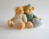 Cherished Teddies Wedding Couple Bride Groom Bears Bride Military Groom Teddies Figurine Vintage 1997 Priscilla Hillman Enesco China