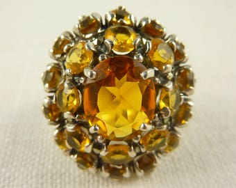 Size 9.25 Sterling Marcasite and Orange Glass Ring