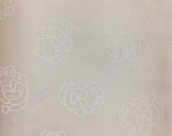 White on white Santa fabric, background cotton print. quilting, sewing,  Half-yard