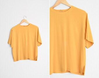 Size M/L // SILK SHELL BLOUSE // Mustard Yellow - Oscar de la Renta Expressions - Short Sleeve Top - Vintage '90s.
