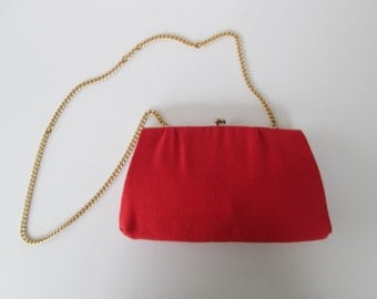 Ande Red Linen Chain Shoulder or Clutch Bag
