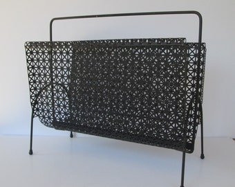 Mid Century Black Metal Magazine Rack