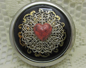 Heart Compact Mirror My Love Comes With Protective Pouch Gift For Valentines Day