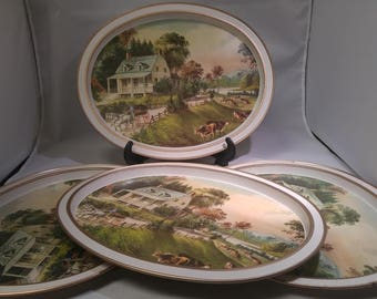 20% OFF Set of 4 Currier & Ives Metal Trays The American Homestead - Summer, Horses Cattle, Lap #B397 SALE