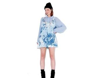 OMG HALF OFF adorable Bleached Denim Dress / bleach dye tie dye overall dress jumper dress jean dress overalls ripped distressed oversized
