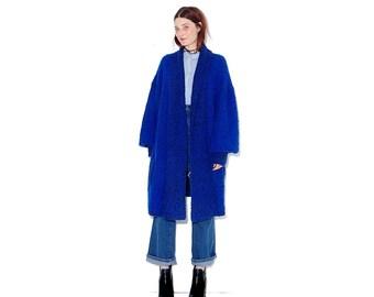 insane Cobalt Blue knit SWEATER COAT / one size / textured boucle knit coat jacket oversized sweater cardigan womens coat